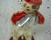 Vintage Christmas Ornament, Little Musician Guy Playing an Acordeon,Pipe Cleaner Body and Little Ski Outfit, With Skis (A)