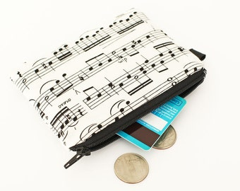 Coin purse, small zip pouch, small makeup bag, padded little change purse -  cream white and black music notes