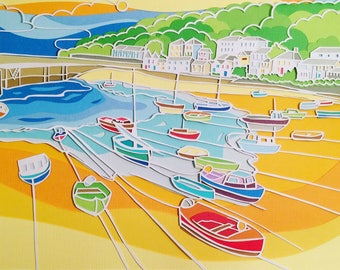Papercut print of Cornwall Mousehole harbour with fishing boats and beach, wall art