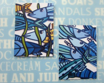 ACEO Papercut art print of blue fish in the sea