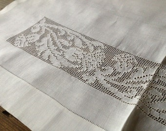 White Linen Cupboard Curtain Panel, Table Runner, Scottish Thistle Floral Pattern