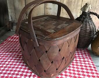 Large Splint Oak Wood Picnic Basket, Woven Splint Oak, Bentwood Handles Rustic Cabin Farmhouse