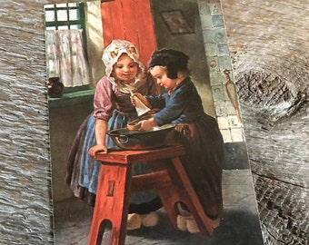 Antique Austrian Postcard, Early 1900s, Beautiful Painting of Children