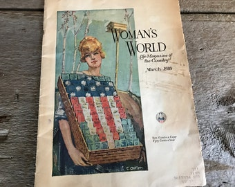 1918 Womans World Magazine, Womens Magazine, Early 1900s Lifestyle, Advertisements, Framable Artwork