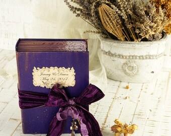 Purple Wedding Guest Book or Photo album, Shabby Chic, Vintage Wedding Album, Custom Wedding Photo Booth album