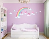 Removable and Reusable Bedroom Wall decals,Girls Rainbow and Name on clouds Fabric Wall Decal
