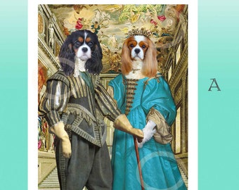 Cavalier King Charles Spaniels as King Charles II & Mistress Nell Gwyn--- Giclee Print Picture-Anthropomorphic Anthro Art Artwork Gift