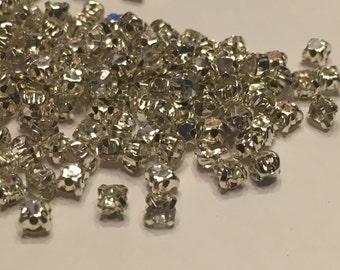20 clear Rhinestone sew on gems, 3 mm (K30)