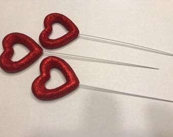 3 glitter open heart picks, 60 mm