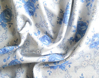 vintage french fabric blue roses antique french fabric patchwork fabric quilting fabric blue floral fabric 195