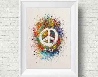 Peace Sign Symbol Poster Watercolor Print Wedding Gift Print Children's Wall Art Wall Decor Art Home Decor Wall Hanging