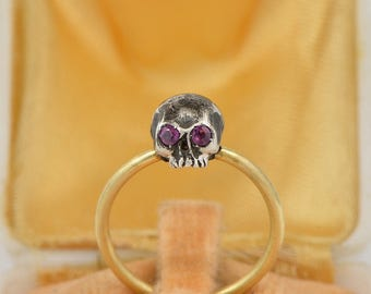 Late Victorian ruby eyes fiery memento mori skull ring