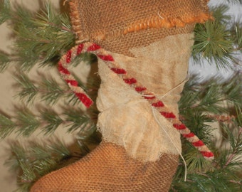 Primitive Stocking-Primitive Burlap Stocking-Primitive Christmas Stocking-tbu 1000