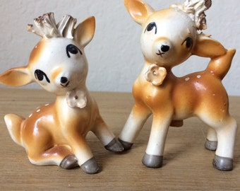 Vintage Deer Salt & Pepper Shakers Spaghetti Trim, Two Fawn Shakers, Made in  Japan