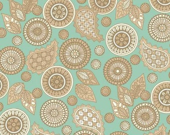Henry Glass fabric Taupe PAISLEY on Blue-Green
