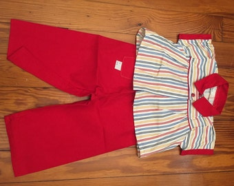 1950s Vintage, Girl's Outfit, Play OUTFIT, Never Worn, Old Store Stock, Movie Costume,Movie prop,Vintage Clothing,Size 2, Pants and Top, NOS