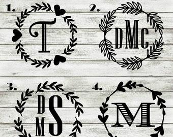 Leaf Monogram Decal - leaf wreath monogram - Monogram Sticker - Monogram Decals - Monogram Laptop Decal - Car Decal - Monogram Car Decal -