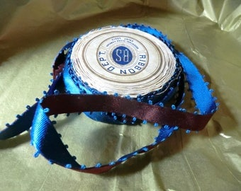 Silk picot edge two-tone antique silk ribbon french blue rusty rose red made in 1920s Rosenthal st Louis