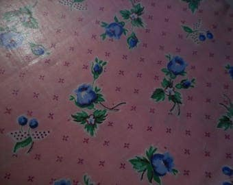 Vintage 1950's Pink Blue Flowers Cherries Polished Cotton Chintz, 3 yards