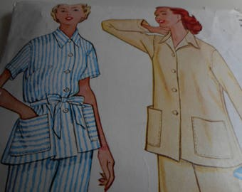 Vintage 1950's McCall's 9655 Pajamas Sewing Pattern, Size 16 Bust 34