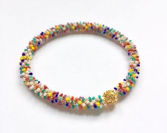 Rainbow, multi chakra bracelet, golden bead, beaded crochet, stackable, yoga bracelet