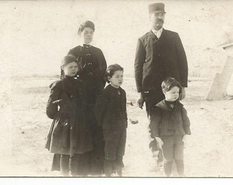 Vintage 1900's Photograph Postcard of Train Conductor and Family