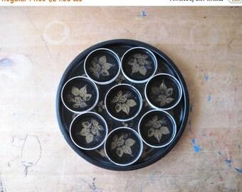 Black Metal Tray, Vintage Coasters, Vintage Barware, Round Tray, Vintage Bar Tray, Vintage Serving Tray, Mad Men, Mid Century Barware