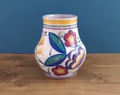 Custom Order for Di - Vintage Poole Handpainted Vase and Antique Engraved Dram Glass