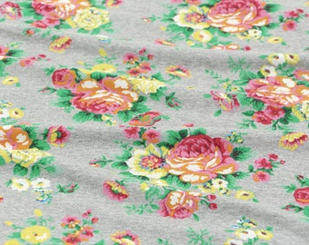 """Roses Knit Fabric, Gray Rose Bouquet Knit Fabric - 68"""" Wide - Fabric By the Yard - 79037 GJ"""