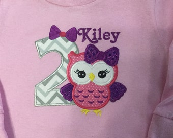 Personalized 2nd Birthday Owl shirt., Girls 2nd Birthday, Birthday gifts for girls can be done in any number, colors & personalized for free