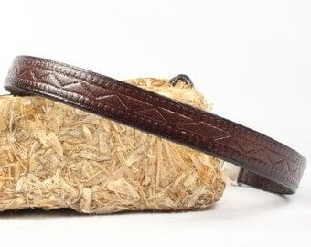 Men's leather bracelet, Brown embossed leather, Magnetic clasp, CarolMade