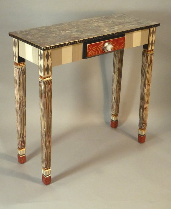 Foyer Table Red : Carved leg hall table red grey custom made to order