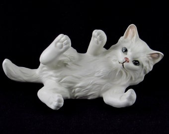 Playful White Kitty Figurine