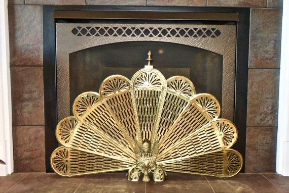Vintage Fireplace Screen Brass Peacock Fan Phoenix Winged