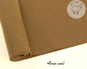 "Brown wool felt, pure wool felt 1mm thick, choose the size  20x30cm or  20cm by 91cm (9"" x 36""),  - Ships from Ireland"
