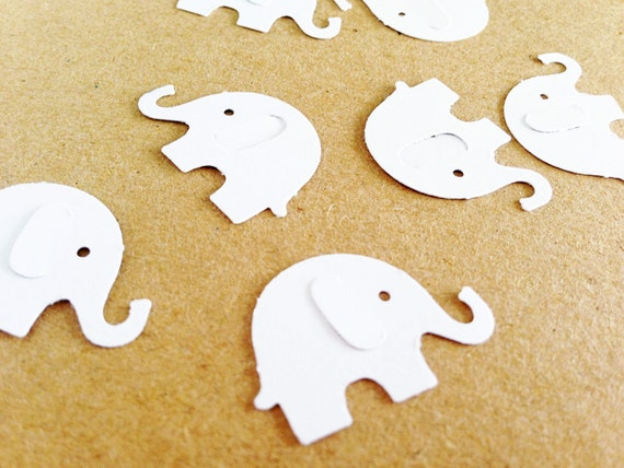 50 White Baby Elephant Confetti - 1 Inch - First Birthday. Wedding. Bridal Shower. Bachelorette Party. Elephant Decor. Birthday Party.