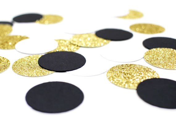 "Black + White + Gold Glitter Circle Confetti - 1"" - Wedding. Bachelorette Party. Bridal Shower. Baby Shower. Engagement. First Birthday."