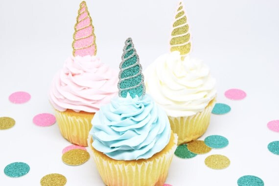 Unicorn Horn Cupcake Toppers - Glitter - First Birthday Decor. Unicorn Party Decor. Birthday Party. Bachelorette Party. Engagement Party.