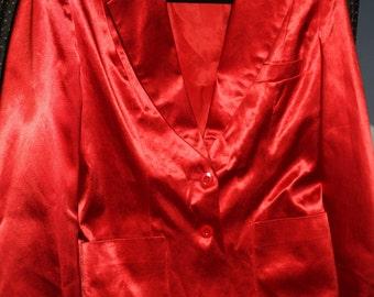 Disco Era Vintage Red Shiny Stirling Cooper Blazer made in England