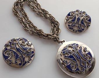 1960s Vintage ENAMELED CREST Bracelet Earrings Vintage Jewelry Set Charm Bracelet Clip On Earrings Blue Enamel Coat of Arms Family Crest