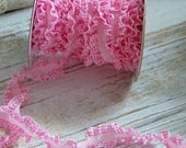 Pink Gingham Ruffled Trim, Ruffled Ribbons, Ruffled Trims, Gingham Trims, Pink, Country Trims, Shabby Style, Cottage Chic, Trims, Ruffle