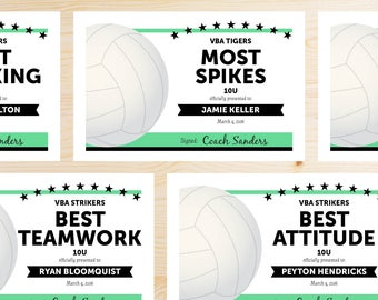 Editable Volleyball Award Certificates - INSTANT DOWNLOAD PRINTABLE - Black and Mint Green