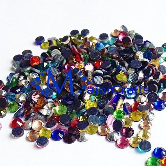 Mixed Solid Colours Flat Back DMC A+ Quality Glass Cut Hotfix Diamante Rhinestones C31