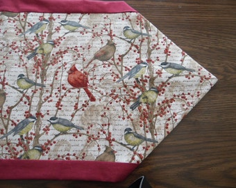 Bird Table Runner - Cardinal Table Topper - Finches Table Linen