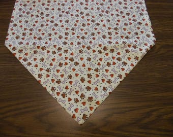 Dog Paw Prints, Bone and Hearts Large Table Runner,  Dresser Scarf, Party Decor, Table Runner, Table Linen