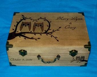 Decorative Wedding Gift Card Box Wood Burned Owl Suitcase Wedding Keepsake Box Personalized Engraved Trunk Owls Memory Box Love Letter Box