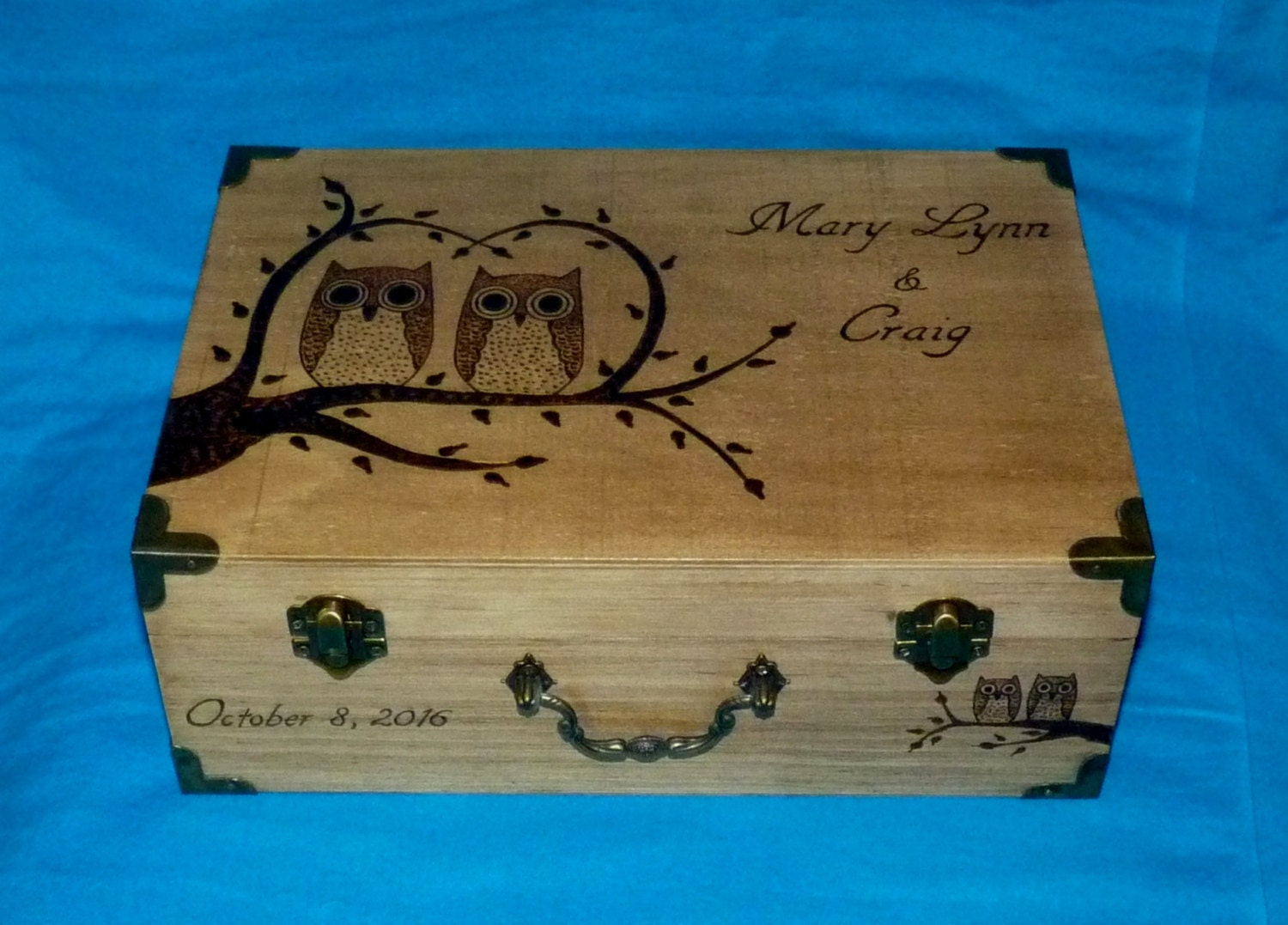 Metal Decorative Wedding Gift Card Holder Box : Decorative Wedding Gift Card Box Wood Burned Owl Suitcase