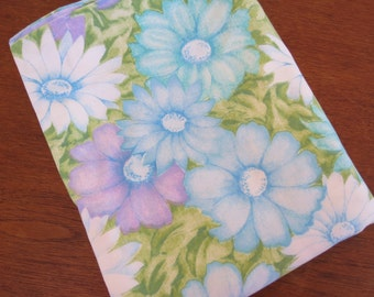 Vintage Sheet - Blue and Purple Floral - Twin or Single Flat Sheet by Cannon Monticello