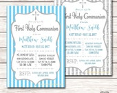 First Communion Invitation - Boy (Digital File) DIY Printable Print at Home Personalized Blue Silver