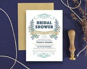 Bridal Shower Invitation Floral Bridal Shower Invite Wedding Shower Rustic Bridal Shower - Printable DIY